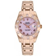 Rolex Masterpiece Swiss ETA 2836 Movement Full Rose Gold Diamond Marking with Pink MOP Dial Mid Size