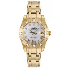 Rolex Masterpiece Swiss ETA 2836 Movement Full Gold Roman Marking with White MOP Dial Mid Size