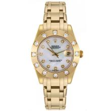 Rolex Masterpiece Swiss ETA 2836 Movement Full Gold Diamond Bezel and Markers with MOP Dial Mid Size