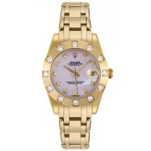 Rolex Masterpiece Swiss ETA 2836 Movement Full Gold Diamond Bezel and Markers with Pink MOP Dial Mid Size