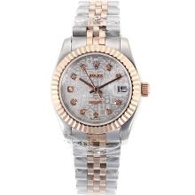 Rolex Datejust Automatic Two Tone Diamond Markers with White Computer Dial
