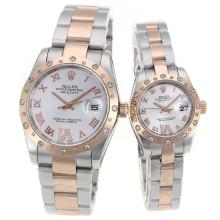 Rolex Datejust Automatic Two Tone Diamond Bezel Roman Markers with Silver Dial Sapphire Glass